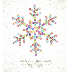 Merry christmas watercolor snowflake vector