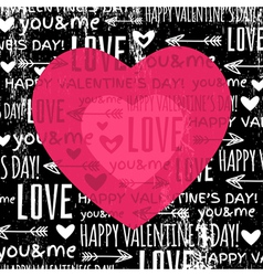 Black background with red valentine heart vector