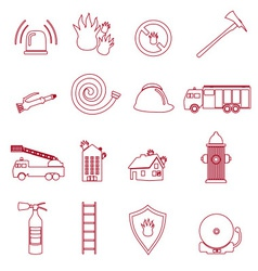 Fire brigade outline red icons set eps10 vector