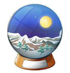 A dome with an image of a snowy mountain vector