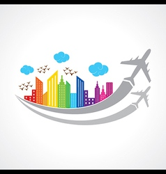 Colorful background with city and airplanes vector