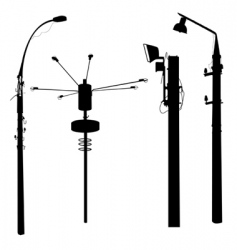 Street lamp silhouettes vector