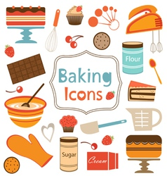 Baking icons set vector
