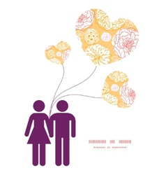 Warm day flowers couple in love silhouettes vector
