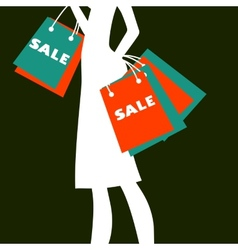 Silhouette of a woman shopping vector