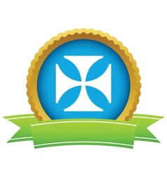 Gold religion cross logo vector
