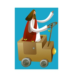 Side view of jesus christ sitting car vector