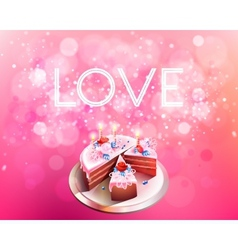 Inscription love on a pink background with big vector