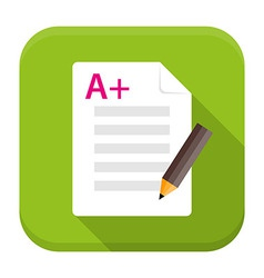 Exam preparation app flat icon with long shadow vector