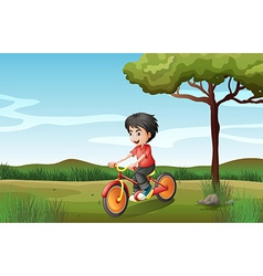 A boy biking at the hill vector