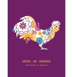 Colorful oriental flowers rooster vector
