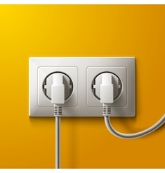 Realistic electric white socket and 2 plugs on vector