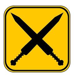 Crossed gladius swords button vector