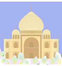 Taj mahal with lotuses vector