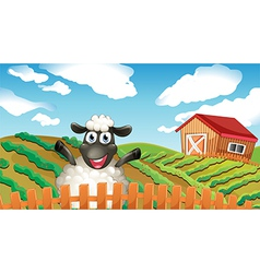 A black sheep inside the fence vector