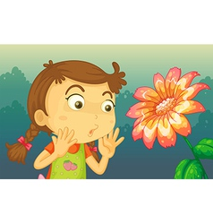 A girl shocked by a giant flower vector
