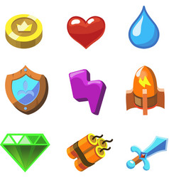 Cartoon icons for game user interface set vector
