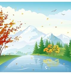 Autumn lake vector