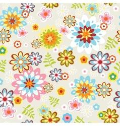 Cute seamless flower pattern line art vector