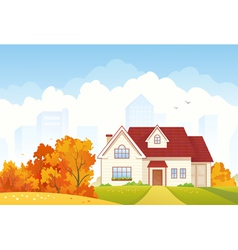 Autumn cottage vector