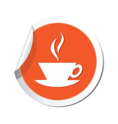 Cafe icon orange sticker vector