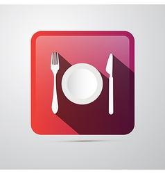 Eating icon fork plate and knife vector