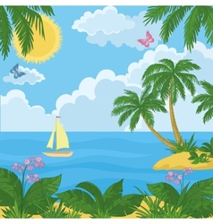 Landscape island with palm trees and ship vector