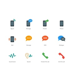 Phone colored icons on white background vector