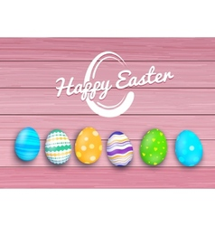 Easter colored eggs on rustic wooden planks vector
