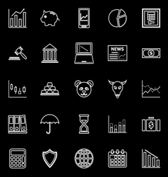 Stock market line icons on black background vector