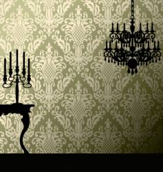 Damask and candelabra vector