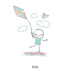 A man with a kite vector