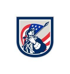 American patriot holding usa flag look up crest vector