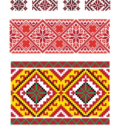Three seamless folk borders vector