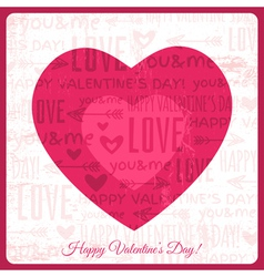 Valentines day greeting card with red heart vector