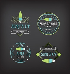 Surf vintage elements retro logo board hawaii vector
