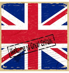 Vintage background with flag of great britain vector