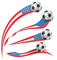 Usa flag set whit soccer ball vector