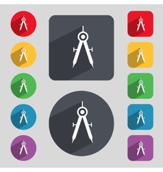 Mathematical compass sign icon set of colored vector