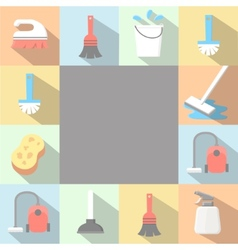 Application cleaning icons set in flat vector