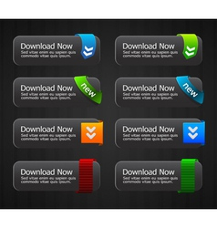 Glossy download buttons set vector