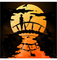 Halloween silhouette of a young witch flying on a vector