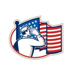 American soldier salute flag retro vector
