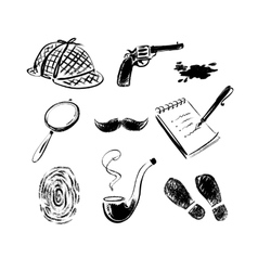 Detective sketch icons vector