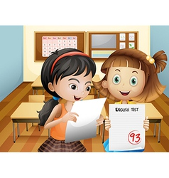 Two girls holding their exam results vector