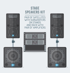 Color flat style loudspeakers on subwoofer and vector