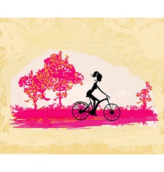 Cycling grunge poster with silhouette girl vector