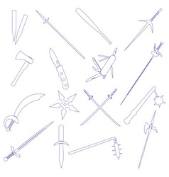 Cold steel weapons simple outline icons eps10 vector