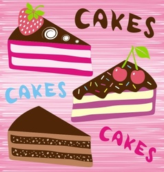 Three slices of cake vector