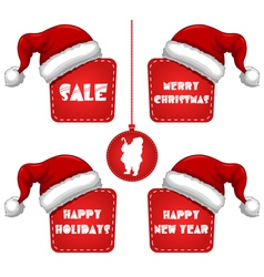 Rectangle christmas new year sale tag with cap vector